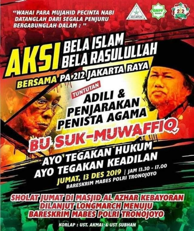 Akan Ada Aksi di Bareskrim, Tuntut Sukmawati dan Gus Muwafiq Ditangkap