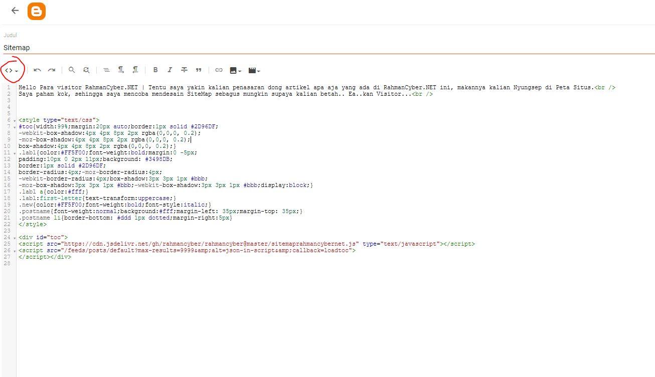 Tampilan HTML Blogger Page