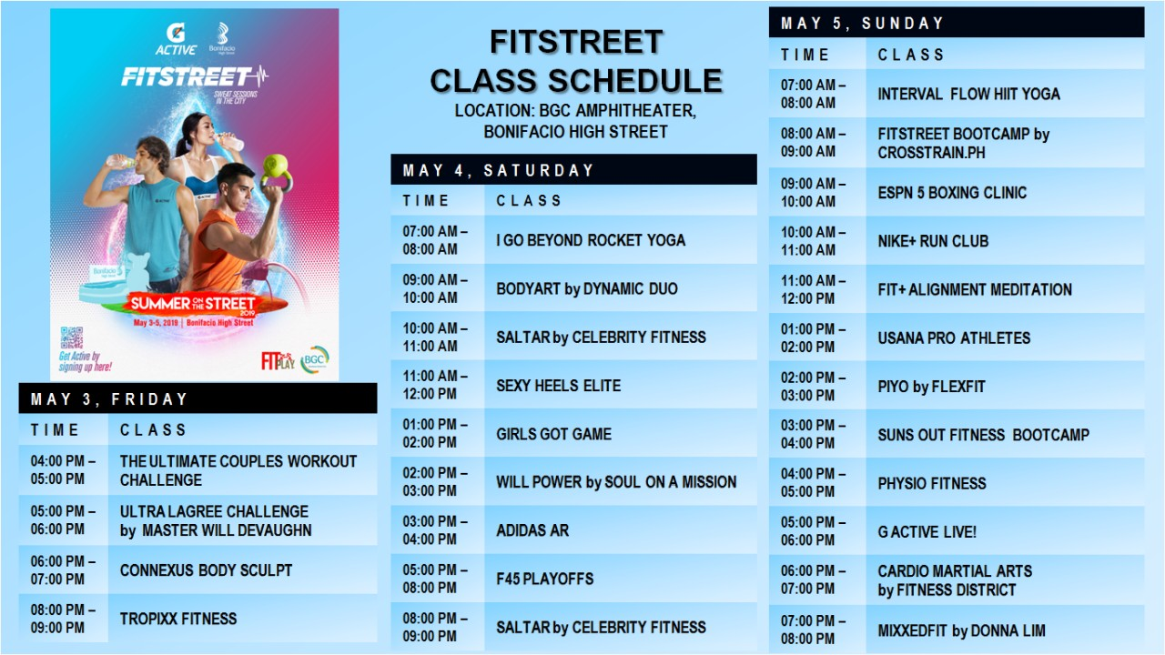 List of Fitness Classes at the BGC Ampitheater.