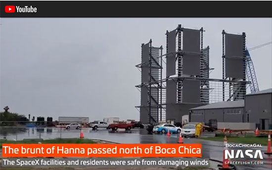 Hanna passed north of Boca Chica (Source: @BocaChicaGal)