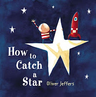 How to Catch a Star book cover with boy and rocket standing on top of a golden star