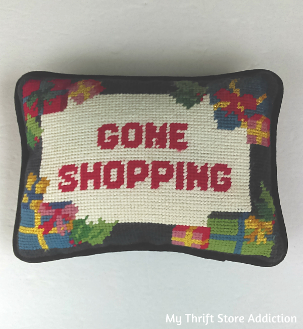 Gone Shopping needlepoint pillow