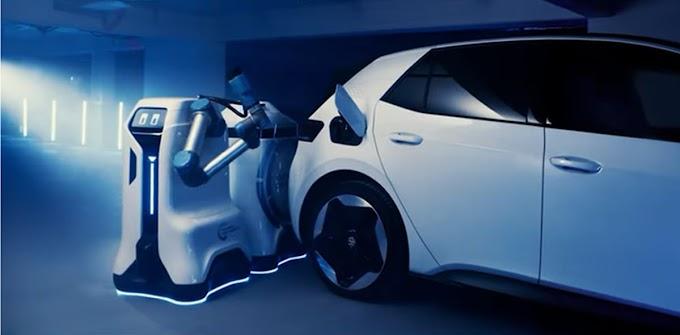 Volkswagen shows its autonomous robot for electric car recharging