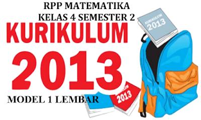 RPP Matematika 1 Lembar Kelas 4 Semester 2