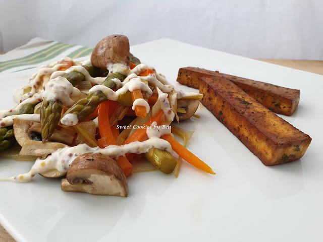 verduras en papillote y tofu