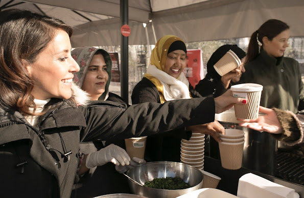 Princess Marie of Denmark attended a soup selling (Send Flere Krydderier) activity organized for the benefit of world's poorest women in the city center of Copenhagen.