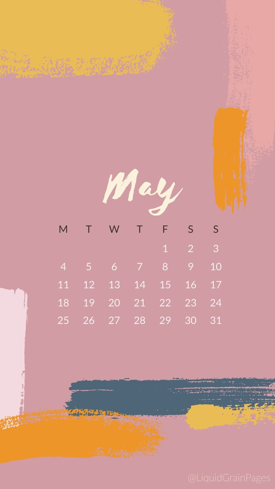 FREE PHONE BACKGROUNDS - 2020 May CALENDAR LIQUID GRAIN PAGES