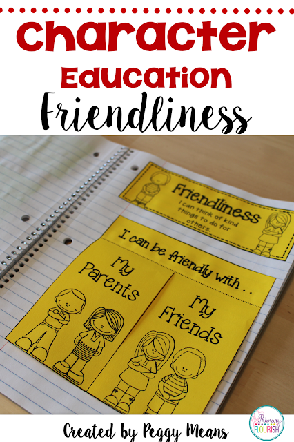 "Character Education: Friendliness   This is a great mini-unit to help students form and strengthen relationships as they learn about ""Friendliness"". The mini lessons, anchor chart building, and interactive notebook activities all help to create a classroom community based on class-created models for friendliness."