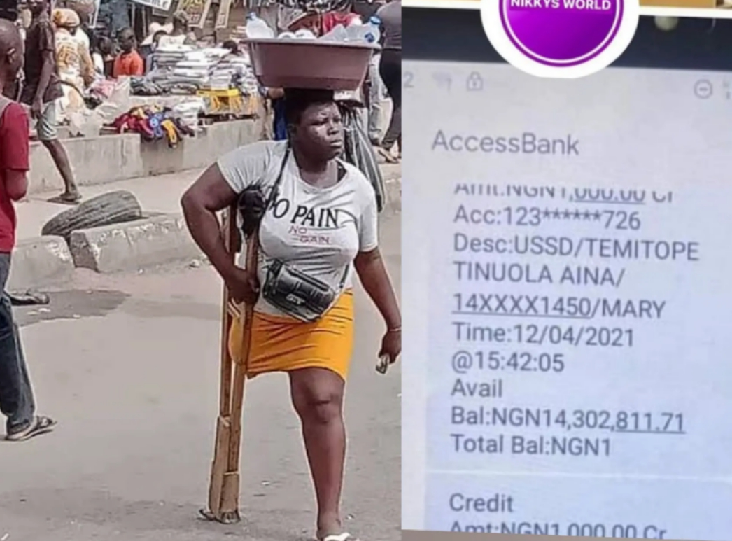 Olosho have no excuse : N14 million Naira contributed to wiral amputee lady hawking bottle water