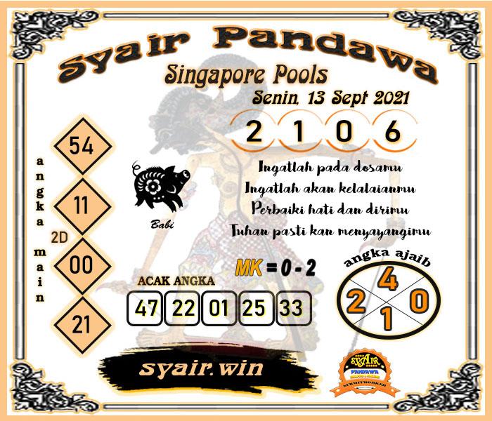 Syair Pandawa SGP Senin 13-Sep-2021