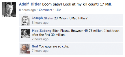 Funny Hitler Stalin Mao God Facebook Mass Murder Competition Joke Picture