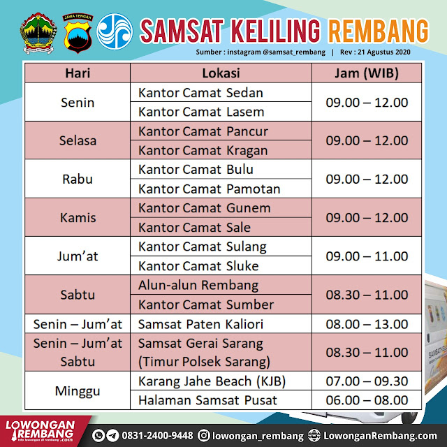 Jadwal Samsat Keliling, Samsat Paten, Samsat Gerai, Samsat Pusat Kabupaten Rembang