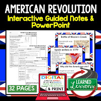 American Revolution, American History Guided Notes, American History Interactive Notebook, Google and Print, American History Note Taking, American History PowerPoints, American History Anticipatory Guides