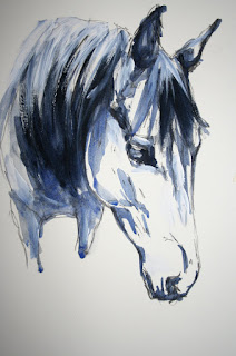 acrylic painting of horse head