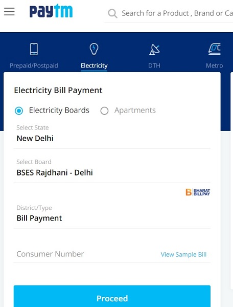 paytm bses bill payment