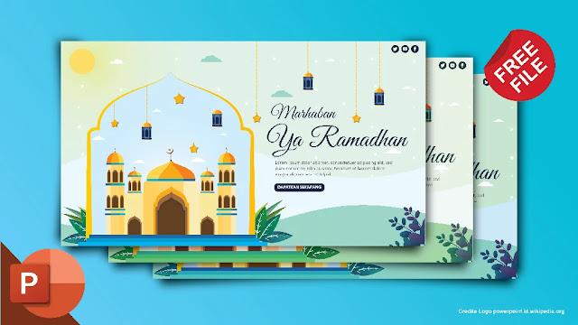 Kumpulan Kumpulan Desain Flat Tema Ramadhan PowerPoint Gratis