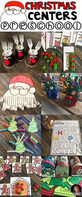 Christmas (December) Math and Literacy Centers for Preschool are perfect for your preschool centers in December.