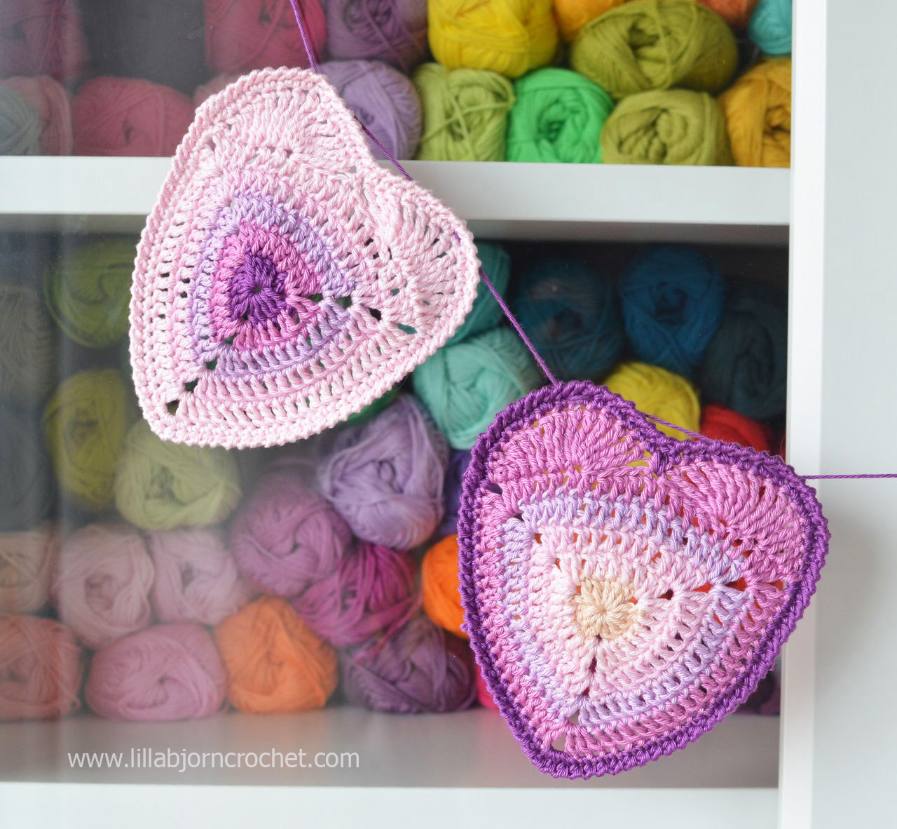 Free Crochet Pattern Heart Coaster : Will you be my Valentine? Ombre Heart Coaster ? Free ...