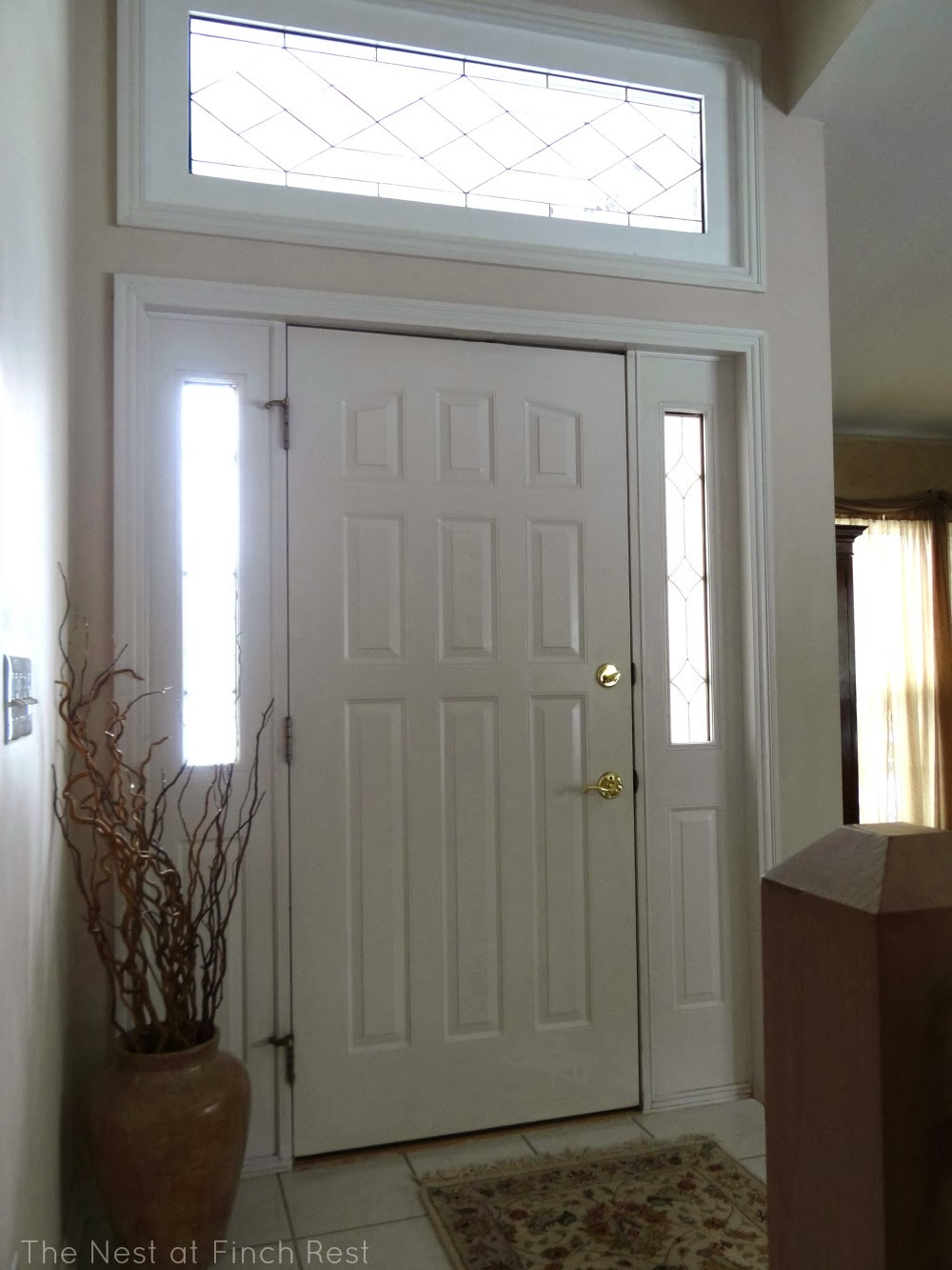 The Nest At Finch Rest Front Door Transom Window Before And After