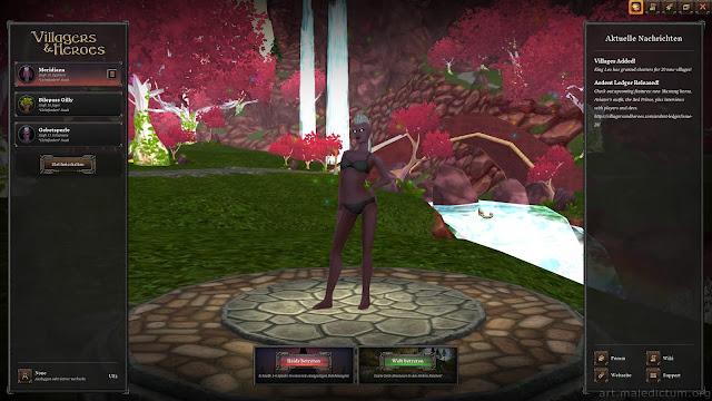 Villagers & Heroes: экран выбора персонажа