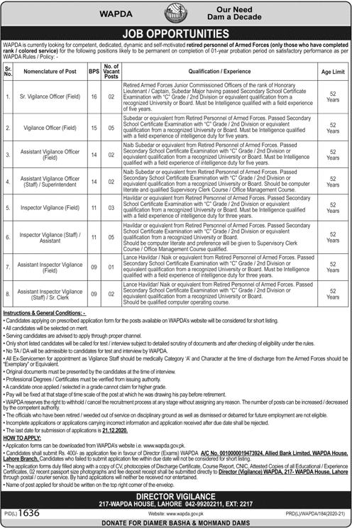 Water and Power Development Authority (WAPDA) Jobs 2020