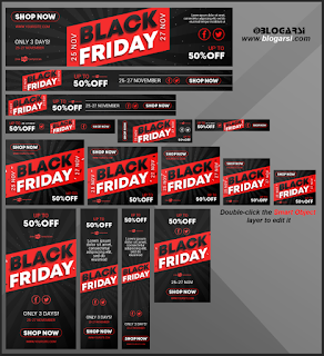 15 Adet Free Black Friday Banner PSD