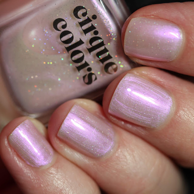 Cirque Colors Ghost Rose shimmer pink nail polish with tiny glitter throughout