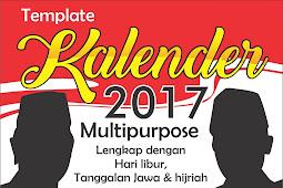 download gratis Template Kalender 2017 multipurpose lengkap tanggalan hijriah, jawa, hari libur nasional coreldraw cdr