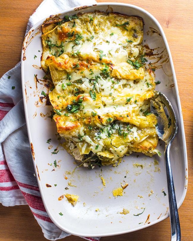 Easy Chicken, Kale & Goat Cheese Enchiladas