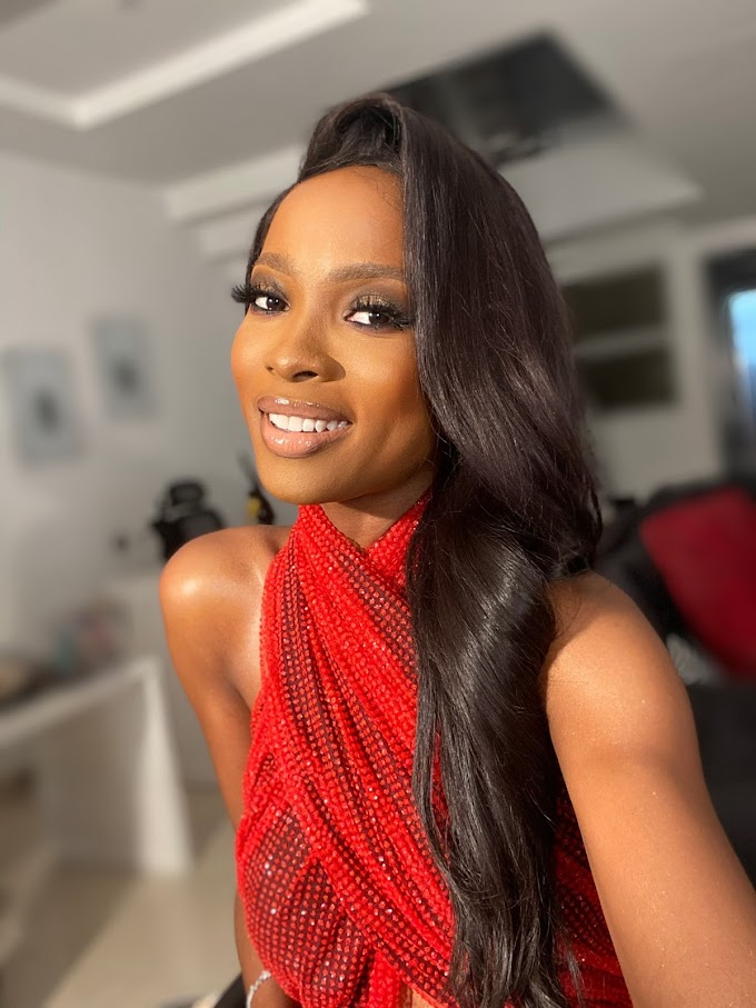 "Jemima Osunde Stuns In Red, For The MoetChandon ""A Night With The Stars"" 2020 Event."