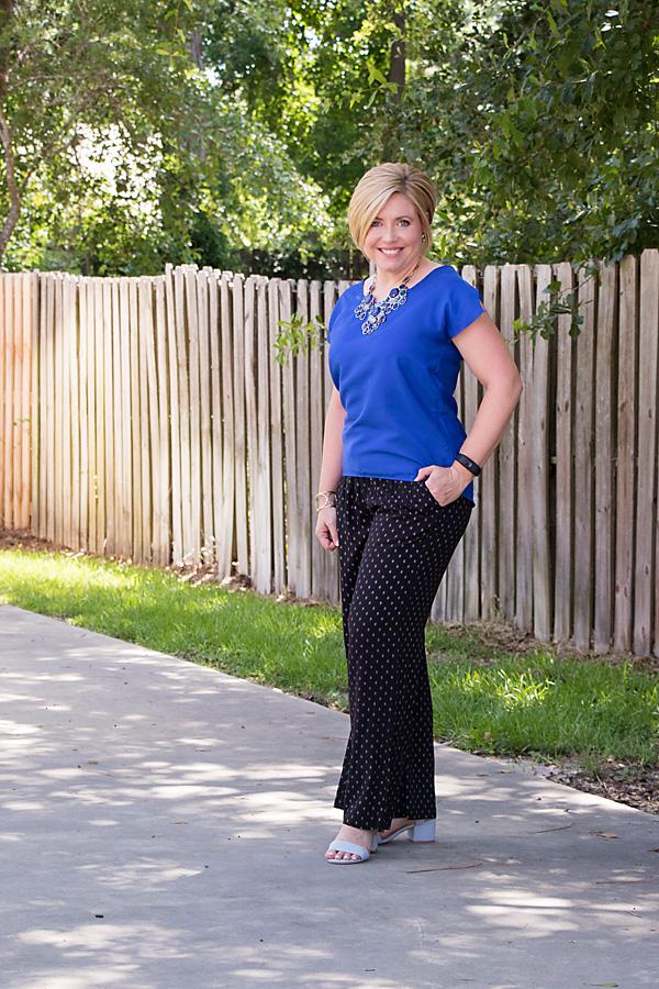 soft pants, summer outfit, cobalt top