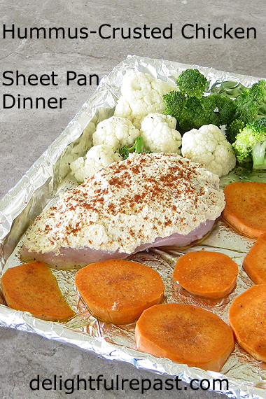 Hummus-Crusted Chicken - Easy Sheet Pan Dinner (for one or more) / www.delightfulrepast.com