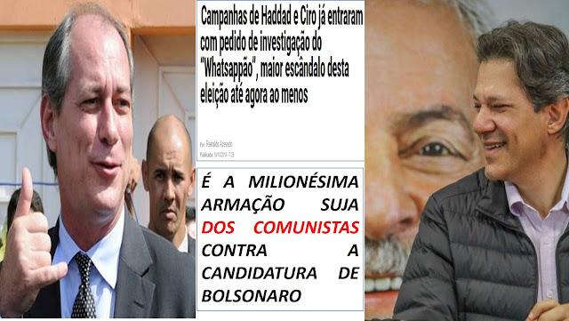 Diante da iminência de derrota os comunista petista armam atentado contra a candidatura de Bolsonaro