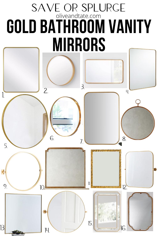 Save or Splurge Gold Vanity Mirrors