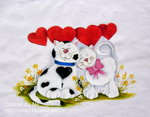 casal de gatos pintados em tecido