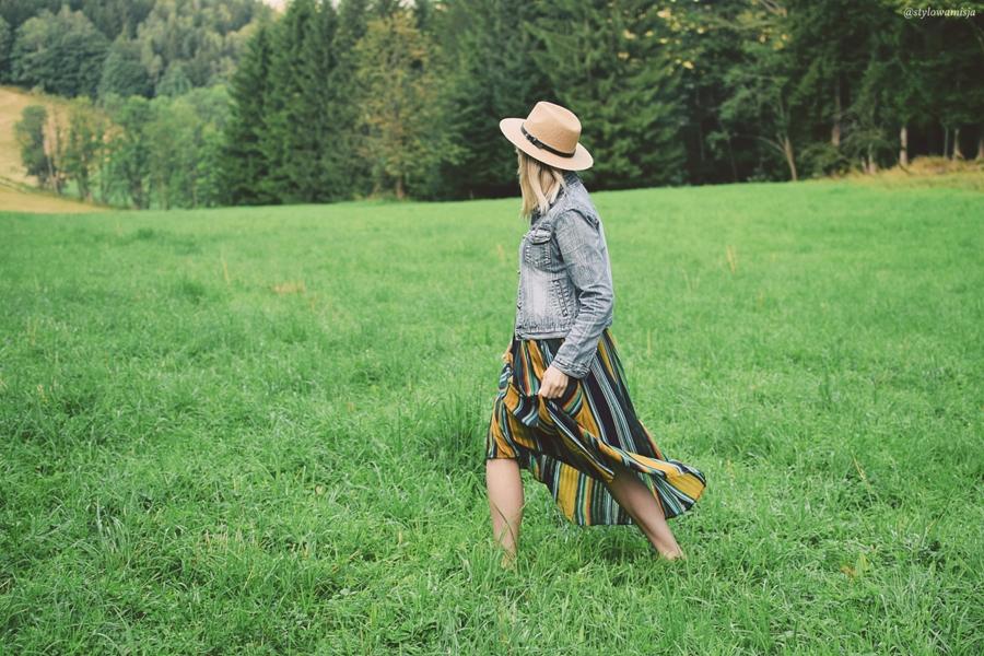 moda, spódnica, rosegal, zieleń, góry, krajobraz, kapelusz, szaleo, maxi,