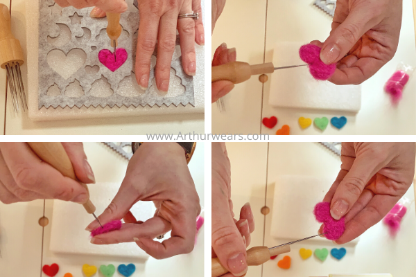 step by step to make needle felted hearts  removing the heart fro the template and needling the edges