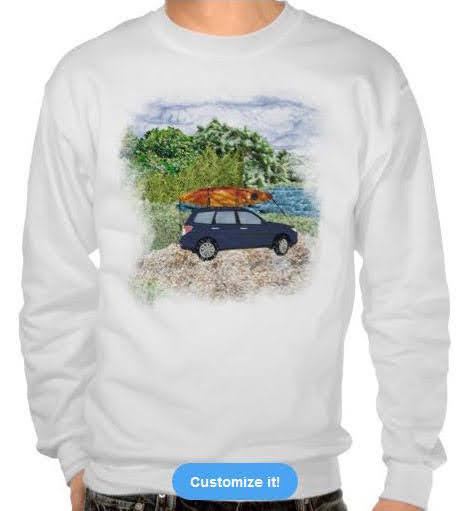 """""""Paddling Day"""" car with kayak at lake art photomontage Sweatshirt"""