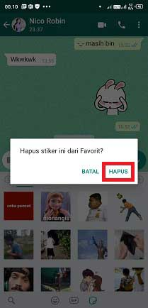 cara menghapus stiker favorit di whatsapp