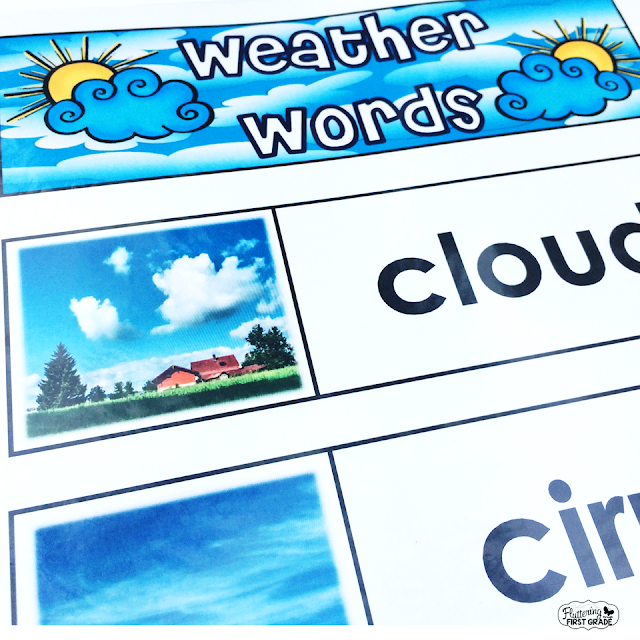 Weather vocabulary cards for science activities