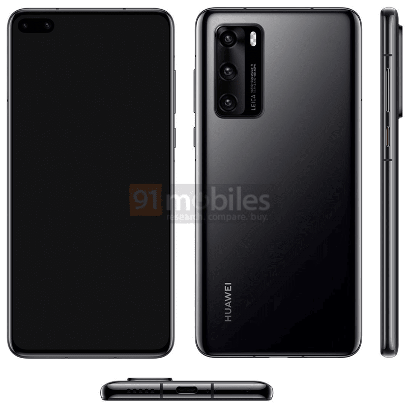 Alleged Huawei P40 press renders reveals punch hole display with dual selfie camera!