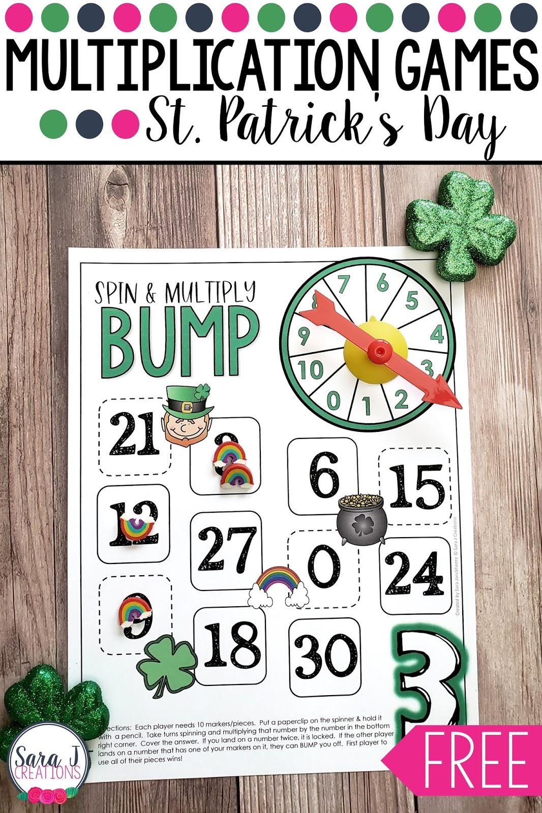 FREE St. Patrick's Day multiplication bump games. Super fun games for building math fact fluency. Download your freebie now!