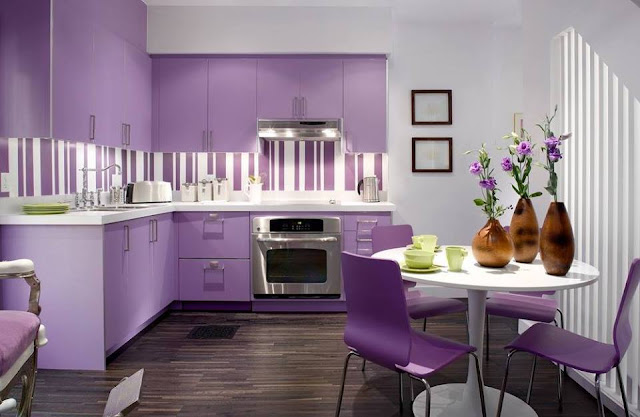Modern Purple Kitchen Design ideas With Plant