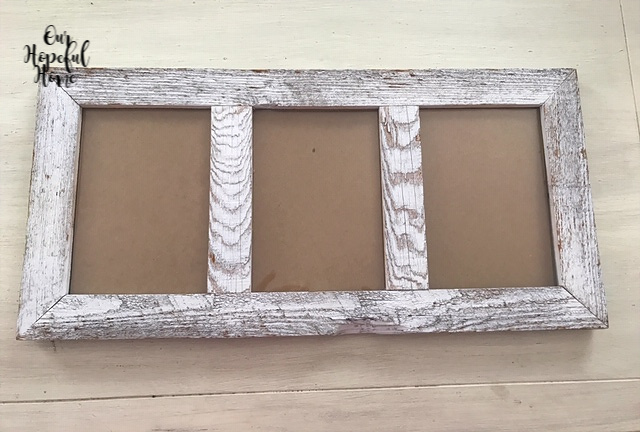empty rustic wooden triple picture frame