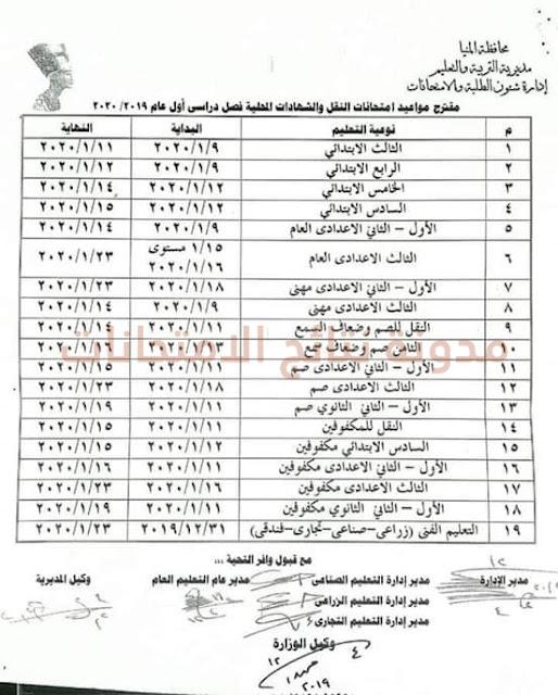 جدول مواعيد إمتحانات طلاب محافظة المنيا الترم الاول 2019 جميع المراحل (إبتدائى واعدادى وثانوى)