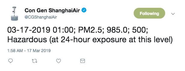 another @CGShanghaiAir tweet reporting PM2.5 level of 985 in Shanghai