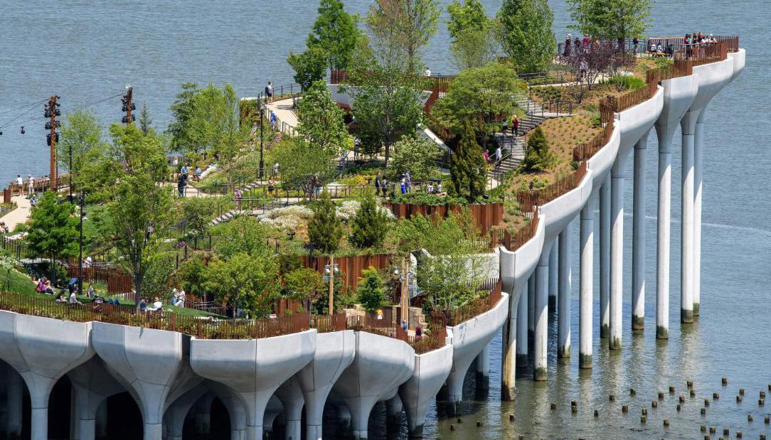 công viên nhân tạo nổi giữa lòng sông Hudson ở New York