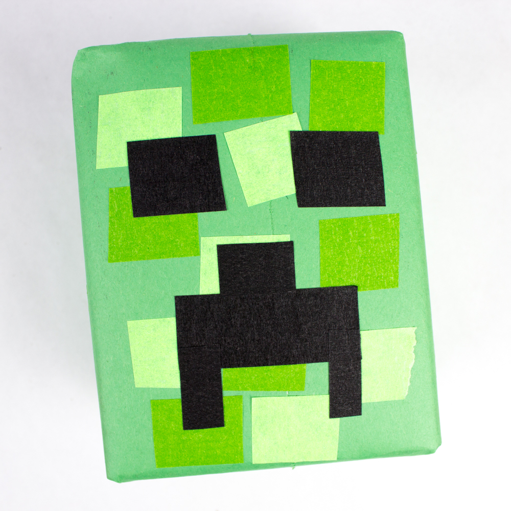 Creeper Minecraft Gift Wrapping Idea Pink Stripey Socks