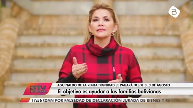 Jeanine Áñez anuncia que se pagará el aguinaldo adelantado de la Renta Dignidad desde el 3 de agosto
