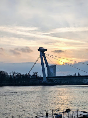 Bratislava in winter: The UFO bridge at sunset